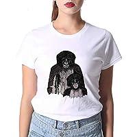 LuoMei Camiseta Estampada Blanca Camiseta de Manga Corta con Cuello Redondo para Mujer Camiseta de Algodón para Mujer Camiseta de Mujer CoreanaComo se muestra, m