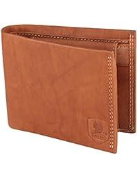LANDER Men's Brown Stylish 100% Genuine Leather Wallet (Brown)