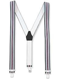 Hochwertige Hosenträger mit 3 Clips Grau - Roter Streifen