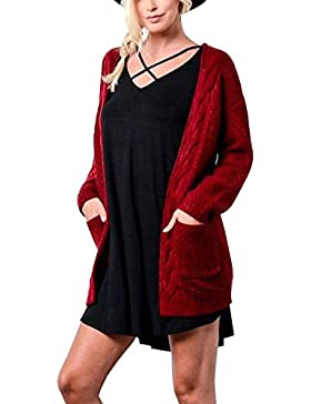Mujeres Jerséis Cárdigan Manga Larga Jerséy Suéters Chaqueta De Punto Abrigo Con Bolsillos Rojo M