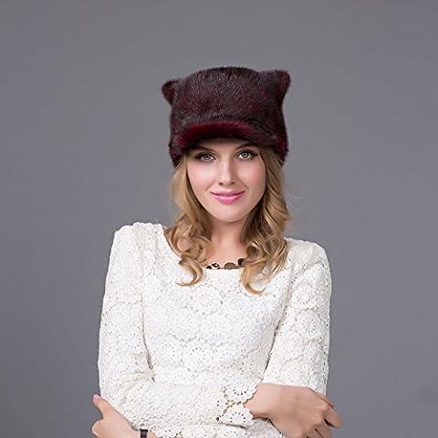 ZJJ Casquillo de béisbol de lana visón europeo sombrero elegancia visón piel hierba caliente orejas