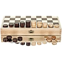 "Great 13"" Draughts / Checkers Set in The Folding Wooden Case 32x32cm - 100 Playing Fields"