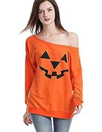 Reciy Mujeres Halloween Sweatshirt Suéter Calabaza Impresas Sudaderas Pulóver Jerséis Tops