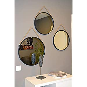 Livitat® Wandspiegel Badspiegel Flurspiegel Spiegel rund Metall Industrie ø40cm Schwarz Retro LV5094