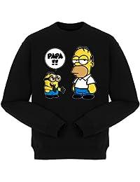 Pull Film - Parodie Minions et Homer des Simpsons - Un fiston trop mignon (Super Deformed) - Pull Noir - Haute Qualité (857)
