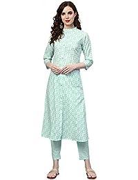 INDO ERA Women's Pure Cotton A-Line Kurta Set with pant (Green)