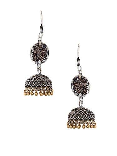da2a749e2 Rubans Oxidised Dual Tone Traditional Indian Bollywood Ethnic Wedding  Designer Mughal Dome Jhumka Earrings For.