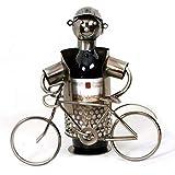 Flaschenhalter in originellem Design - Radfahrer & sein Fahrrad - Farbe GRAU