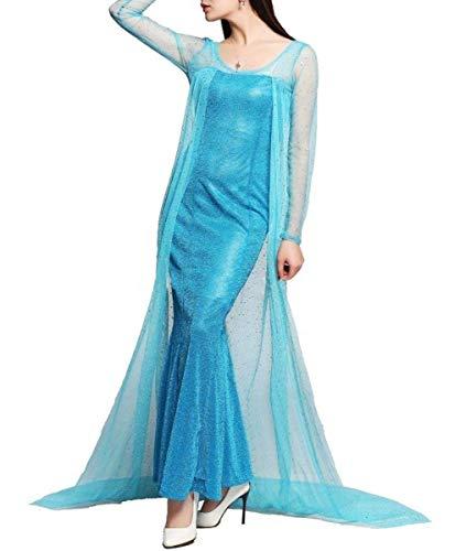 te Größe XXL - Kostüm - Karneval - Halloween - ELSA Princess - Frau - Blaue Farbe - Gefroren (XXL) ()
