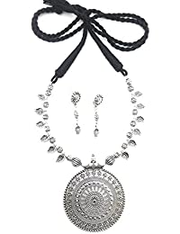 Go Oxidised German Silver Ethnic Necklace Set For Women And Girls (Black)