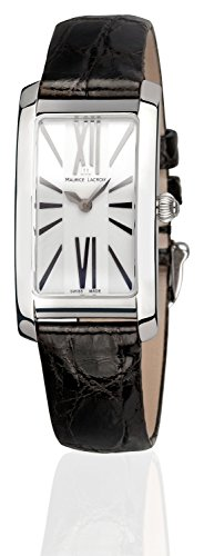 Maurice Lacroix Fiaba Ladies 'Watch Analogue Quartz with Black Crocodile Leather Band Single Pin Buckle Silver Dial Sapphire Crystal Swiss Made FA2164 SS001 112 -2