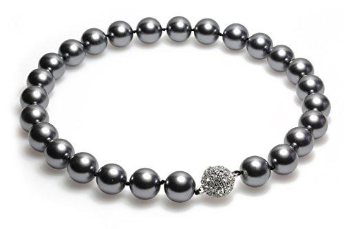 Schmuckwilly Collier de perles shell - Collier de perles shell gris Collier les femme aimant fermoir dmk0015z