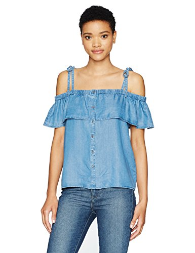 Lucky Brand Women's Tencel Off The Shoulder Top, Medium Wash, Large (Damen Tencel Großen T-shirt)