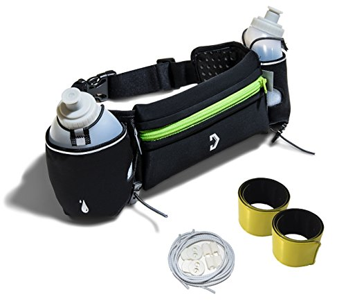 Running Belt with 2 Water Bottles and Large Secure Pouch, Fits Large Smart Phones, Lightweight Neoprene Comfort Waist Grip, Complete With 2 Reflector Bands and Reflective Elastic Shoe Laces.