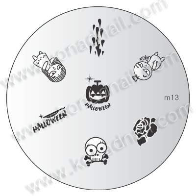 stampingschablone M13 clair Halloween Halloween citrouille de Konad – Cute Nails