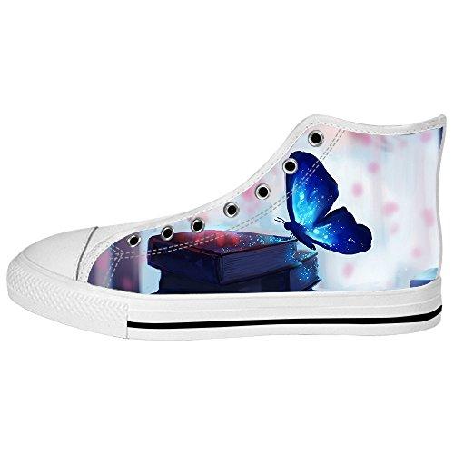Custom couleur papillon volant Mens Canvas Shoes Chaussures Lace Up High Top pour Sneakers Toile Chaussures de chaussures de toile chaussures de sport C