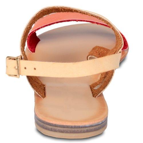 CASPAR Sandales pour femme / Sandalettes en cuir bicolores - plusieurs coloris - SSA011 Orange