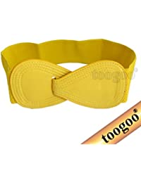eea0ac1a1a77 TOOGOO(R) Boucle de verrouillage 8 Ceinture elastique en faux cuir pour  femmes jaune