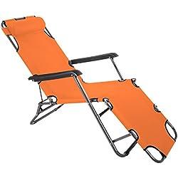 Smartfox Sonnenliege Gartenliege Strandliege 3 Sitz-/Liegepositionen ca. 180 cm Orange