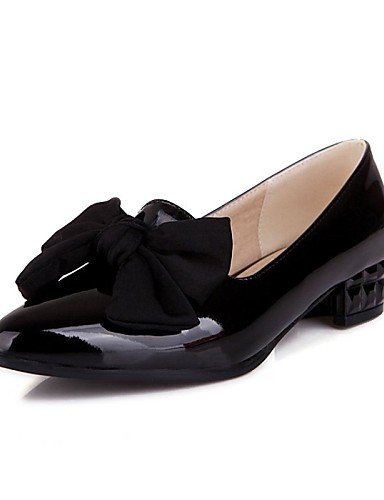 ZQ gyht Damenschuhe - High Heels - B¨¹ro / L?ssig - Lackleder - Niedriger Absatz - Komfort / Spitzschuh - Schwarz / Rosa / Mandelfarben black-us5 / eu35 / uk3 / cn34