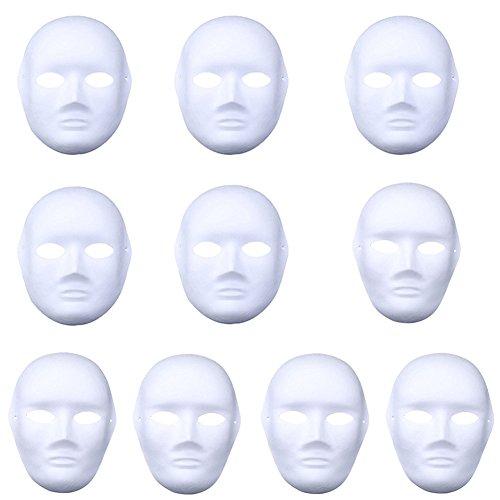 Meimask DIY 10 stücke Weißes Maske Zellstoff Blank Handgemalte Maske Persönlichkeit Kreative Freie Design Maske (5pcs Männer+5pcs ()