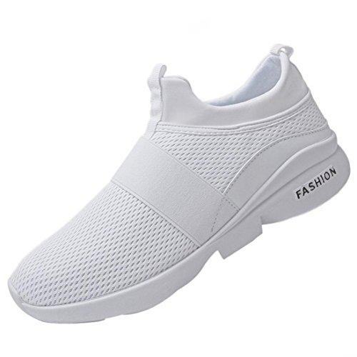 Mode Turnschuhe Herren,ABSOAR Männer Atmungsaktive Mesh Schuhe Beatifable Wild Slip-On Freizeitschuhe 2018 Sommer Gym Skate Sneakers Flach Laufschuhe (EU:42.5/CN:44, Weiß) -