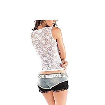 Spice it up Women's Sexy Top with Precious Lace Back (LC25045-1, White, Free_Size)