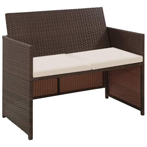 tidyard Lounge Sofa 2-Sitzer Couch aus Poly Rattan, Wetterfesten und Wasserdichten, für Garten, Balkon, Terrasse, 100x56x85cm, Braun
