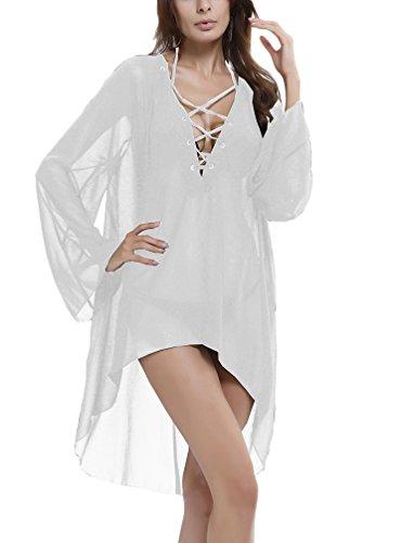Damen Strandkleid Chiffon Transparent Boho Langarm V Ausschnitt Vorne Kurz Hinten Lang Sommerkleid Beach Elegant Vintage Swimwear Beachwear Bikini Cover Up Weiß