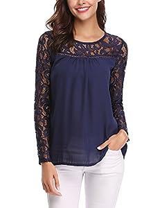 blusas y camisas para premamá: Abollria Camisa Elegante de Mujer con Bordado y Pizzo Blusa Manga Larga Pullover...