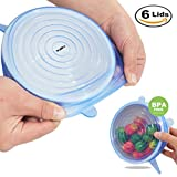 Walfos silicone stretch coperchi 6-pack di varie misure, silicone Bowl Lids food Saver Covers Wrap Bowl pot Cup lid- BPA free Pinch test approved-dishwasher, microonde, forno e freezer.