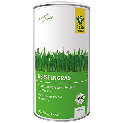 Raab Vitalfood Bio Gerstengras-Pulver (140 g), enthält natürlicherweise Folsäure und Vitamin K, ideal für Smoothies, vegan, glutenfrei, hergestellt & laborgeprüft in Deutschland - Gerstengras Blatt