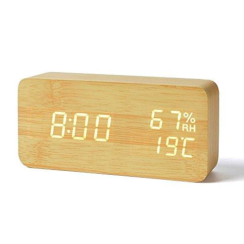 Reloj Digital Despertador de Madera con Control de Sonido y LED Brillo de la Pantalla(Puede mostrar el año, mes, día, hora, minuto, temperatura interior y la humedad interior)color amarillo