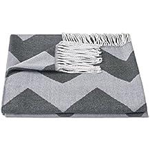 """ZOLLNER® Manta para el sofá / plaid / manta para sillón / foulard con flecos, 130x170 cm, color antracita, disponible en varios colores, del especialista en textiles para hostelería, serie """"Flash"""""""