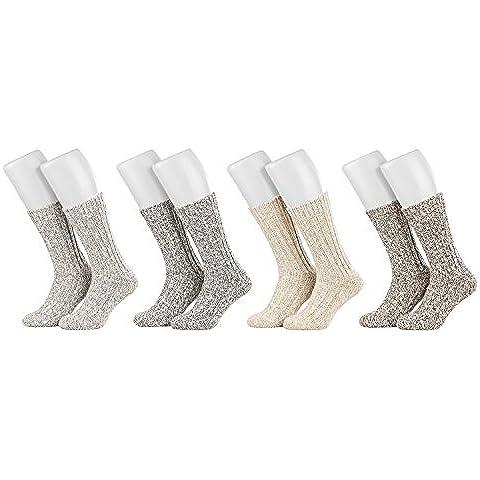 Piarini - 4 pares de calcetines noruegos muy cálidos - Unisex - Varios colores