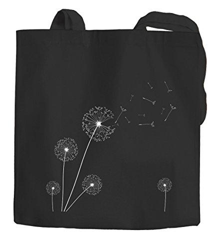 Jutebeutel Pusteblume Dandelion Baumwolltasche Stoffbeutel Einkaufstasche Autiga schwarz 2 lange Henkel
