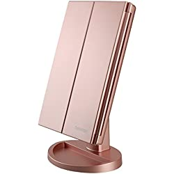 DeWEISN Tri-Fold Lighted Vanity Mirror with 21 LED Lights, Touch Screen and 3X/2X/1X Magnification Mirror, Two power Supply Mode Tabletop Makeup mirror,Travel Cosmetic Mirror(Rose Gold)