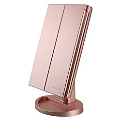 Tri-Fold Lighted Vanity Makeup Mirror with 3X/2X/1X Magnification , 21 LED Lights and Touch Screen Dimmable Mirror, Two power Supply Mode Tabletop Makeup mirror,Travel Cosmetic Mirror(Rose Gold)