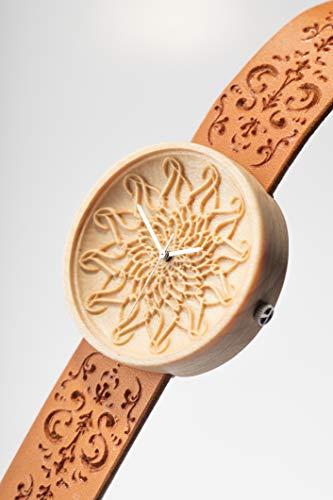 Orologio inciso, Personalizza l'orologio, Orologi Svizzeri, Orologio fatto a mano da donna, Cinturino in pelle, Prodotti con segno Mandala