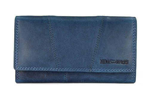Leder Blau (Hill Burry Vintage Leder Damen Geldbörse Portemonnaie braun | rot | grau | schwarz aus weichem Leder - 17,5x10x3cm (B x H x T) (Blau))