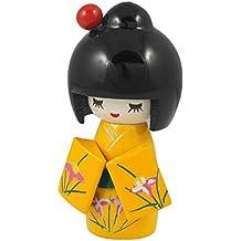 Bambola Kokeshi Kimono giallo a fiori decorativa per scrivania casa ufficio