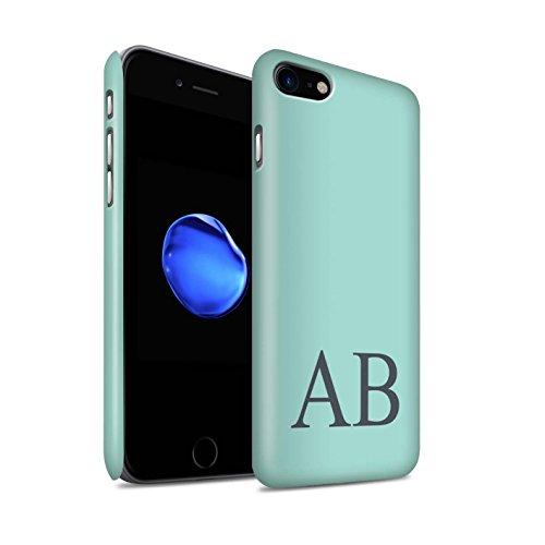 Personalisiert Pastell Monogramm Matte Hülle für Apple iPhone 8 / Türkis Design / Initiale/Name/Text Snap-On Schutzhülle/Case/Etui Türkis