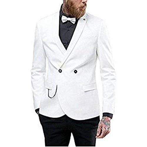 (TPSAADE White Business Mens Anzug Formal Bräutigam Männer Tuxedos Nach Maß Groomsmen Hochzeitsfest Dinner Best Man Anzug (White Jacket + Black Pants + Tie) (XXXXL))