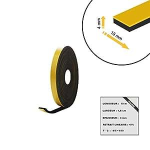 Mousse noire adhésive caoutchouc epdm 15x4mm longueur 10m