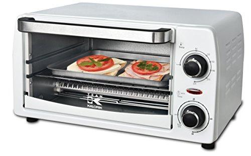 Kalorik Team Mini-Ofen mit Backblech, Grillrost und Krümelschublade (0-230°C), 9 l Volumen, 1050 W, Metall/Glas/Kunststoff, Weiß, TKG OT 1025 W
