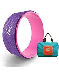 Premium Roue de yoga avec sans manual| Soulage les douleurs et le stress dans le dos, la poitrine et l'épaule | augmentation de la flexibilité | Fitness aider à Dharma Yoga | travail de Corps de 33x 13cm, Homme femme, Purple + Handy Bag