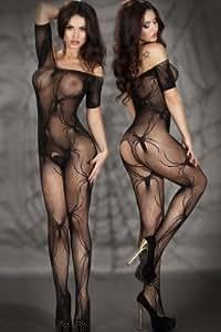 Sexy femmes Noir Ouverture Entrejambe Bas Spider Ramper Corps Teddy Body une pièce combinaison Sous-vêtements Club Wear Pince à dénuder Pole Dancer Taille unique 8-12