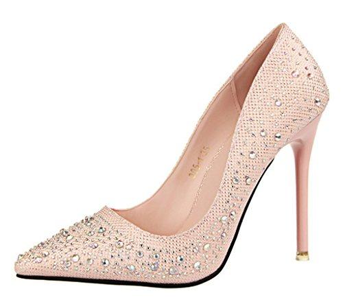 Minetom Mujer Primavera Dulce Boda Zapatos de Tacón Elegante Brillant