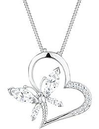 Elli Damen-Kette mit Anhänger Herz, Schmetterling 925 Sterling Silber Zirkonia weiß Marquiseschliff 0107942513_45