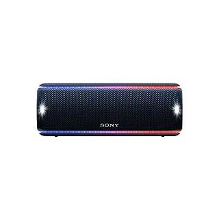 Sony SRS-XB31 kabelloser Bluetooth Lautsprecher (tragbarer, farbige Lichtleiste, Extra Bass, NFC, wasserabweisend) schwarz